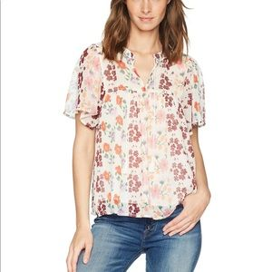 Lucky Brand Short Sleeve Peasant Top